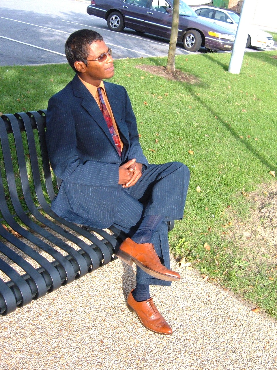 Here J Models Navy Pinstripe Suit Tnt Socks And Vintage Tan John Hardy Wingtip Shoes